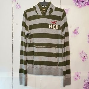 Hollister Striped Pullover Sweatshirt Hoodie S